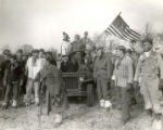 """WW II vets at home with jeep (driver Bob Rapp)"